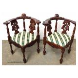 PAIR of SOLID Mahogany Antique Style Carved Corner Chairs – auction estimate $100-$300