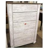 NEW White Wash Finish High Chest with hardware in drawers – auction estimate $100-$200