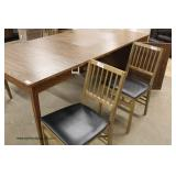 VINTAGE 5 Piece Walnut Server Table with Self Storing Leaves and Chairs – viewed open and closed– au