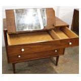 """Mid Century Modern Danish Walnut 3 Drawer Bachelor Chest with Lift Top Mirror in Drawer by """"Drexel"""