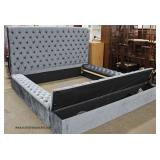 NEW Contemporary Upholstered Button Tufted King Size Bed with Upholstered Rails  and Lift Top Stora