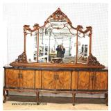 ANTIQUE Monumental Exotic Burl Walnut French Style Inlaid Glass Top Buffet with Mirror – auction es