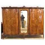 ANTIQUE Exotic Burl Walnut 4 Door French Style Armoire – auction estimate $300-$600