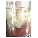 ANTIQUE Exotic Burl Walnut Etched Glass Door French Style China Cabinet with Mosaic Mirror Back and