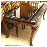 ANTIQUE 9 Piece Exotic Burl Walnut Framed in Glass Top French Style Dining Room Table with 8 Dining