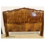 ANTIQUE Queen Size Burl Exotic Walnut Headboard – auction estimate $100-$300