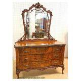 ANTIQUE Burl Exotic Walnut Carved and Fancy Dresser with Mirror – auction estimate $300-$600