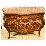 Fancy French Style all Inlaid 3 Drawer Chest with Applied Bronze – auction estimate $300-$600