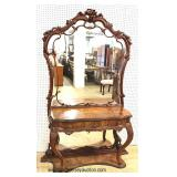 ANTIQUE Ornate Exotic Walnut Carved Dressing Vanity – auction estimate $300-$600