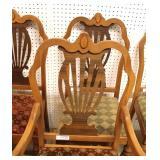 Depression 10 Piece Walnut Two Tone with Birdseye Maple Dining Room Set – table has 1 Leaf – auctio