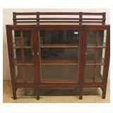 ANTIQUE Mission Oak All Original China Cabinet with Open Plate Rack in the manner of LJ&G Stickley