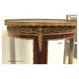 ANTIQUE Marble Top Round French Crystal Cabinet with Applied Bronze in very good condition approxim