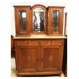 ANTIQUE French Marble Top Buffet with Mirror Double Curio Top – auction estimate $300-$600