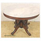 ANTIQUE Oval Marble Top Victorian Parlor Table – auction estimate $200-$400
