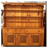 ANTIQUE Southern Yellow Pine 2 Piece Pewter Hutch – auction estimate $500-$1000