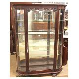 ANTIQUE Carved Mahogany Curve Glass Mirror Back China Cabinet – auction estimate $300-$600
