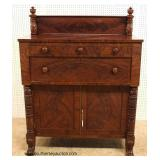 ANTIQUE Burl Mahogany Jackson Press with Acanthus Carved Paw Foot Legs – auction estimate $400-$800