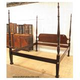 """SOLID Mahogany 4 Poster King Size Bed with Full Canopy by """"Drexel Furniture"""" – auction estimate $40"""