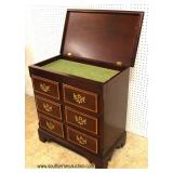"SOLID Mahogany Banded Front Lift Top Silver Chest by ""Baker Furniture"" – auction estimate $300-$600"