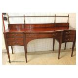 "BEAUTIFUL Mahogany Spade Leg Sideboard with Backsplash and Brass Gallery by ""Baker Furniture"" – auc"
