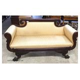 ANTIQUE Federal Mahogany Winged Paw Feet Carved Settee – auction estimate $400-$800