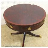 "Burl Mahogany and Banded 2 Drawer Drum Table in Very Good Condition by ""Hickory Chair Company"" – au"