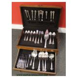 "64 Piece Sterling Silver Flatware Set in Case by ""Reed & Barton"" approximately 80.7 ounces – auctio"