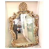 ANTIQUE Fancy Porcelain Cherub Mirror