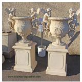 FANTASTIC PAIR of Antique Style 2 Piece Urns with Cherubs and Goat Head Decorated (approximately 5'
