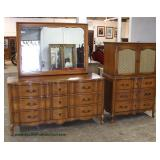 French Provincial Cherry High Chest and Low Chest with Mirror – auction estimate $200-$400