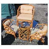 Selection of VINTAGE Rattan Glass Top Tables and Chairs – auction estimate $100-$300 each