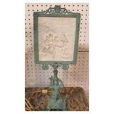 ANTIQUE Cherub Metal Frame Porcelain  Litho Pane Lamp – auction estimate $200-$400