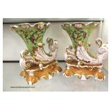 "PAIR of 19th Century Signed ""Jacob Petit"" France  Porcelain Cornucopia auction estimate $300-$600"