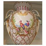 PAIR of 19th Century Hand Painted Urns  attributed to Meissen – auction estimate $300-$600