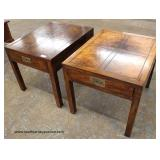 "PAIR of ""Henredon Furniture"" One Drawer Lamp Tables in the Burl Mahogany – auction estimate$ 50-$10"