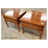 "PAIR of ""Harden Furniture"" Cherry 2 Drawer Lamp Tables – auction estimate $50-$100"