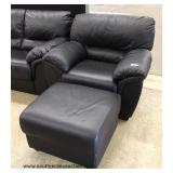 3 Piece Contemporary Black Leather Sofa, Chair and Ottoman (may be offered separate) – auction estim