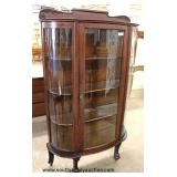 ANTIQUE Oak Ball and Claw China Cabinet with Backsplash – auction estimate $100-$300