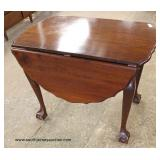SOLID Mahogany Ball and Claw Drop Side Scalloped Edge Table – auction estimate $100-$300