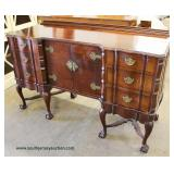 SOLID Mahogany Chinese Chippendale Serpentine Front Ball and Claw Buffet – auction estimate $300-$60
