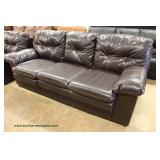 2 Piece Contemporary Brown Leather Sofa and Loveseat (may be offered separate) – auction estimate $3