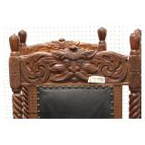 Set of 6 ANTIQUE Oak Griffin Head Carved Ball and Claw Leather Seats and Backs Dining Room Chairs in