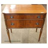 Photo DescriptionOne of Several Burl Walnut Fluted Leg 2 Drawer Servers – auction estimate $100-$300
