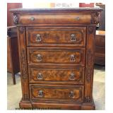 Photo DescriptionContemporary Burl Walnut Carved Column High Chest and Low Chest – auction estimate