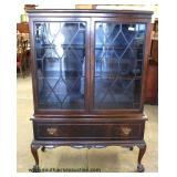 Burl Mahogany Ball and Claw One Drawer 2 Door China Cabinet – auction estimate $100-$300