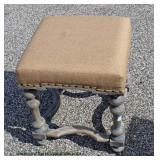 Distressed Upholstered Carved Footstool – auction estimate $50-$100