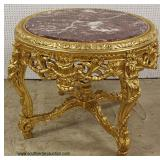 "ELABORATE Heavily Carved French Style 42"" Marble Top Center Table – auction estimate $500-$1000"