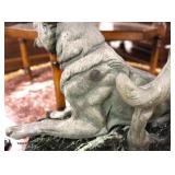 FANTASTIC Marble Base Bronze Finish Metal German Shepherd Statue Signed circa 1920's – auction estim