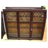 ANTIQUE Mahogany Leaded Glass 3 Door Bookcase in Original Finish – auction estimate $400-$800