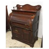 ANTIQUE Walnut Victorian Cylinder Roll Desk with Backsplash – auction estimate $200-$400